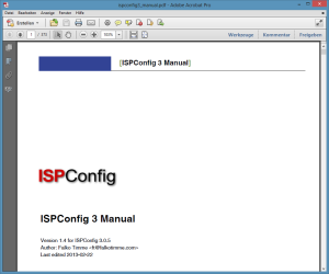 The ISPConfig Manual - First page.