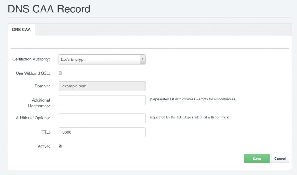 DNS CAA Records in ISPConfig